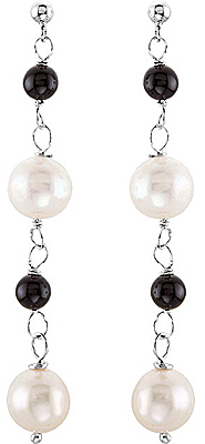 Long Post Back Sterling Silver Dangle Earrings With Pearl & Onyx Beads - SOLD