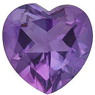 Loose Amethyst Gem in Heart Shape, Grade A, 5.00 mm in Size, 0.42 carats
