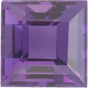 Loose Amethyst Gem in Step Shape, Grade A, 8.00 mm in Size, 2.4 carats