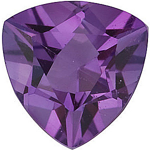 Loose Calibrated Natural Size Amethyst Gemstone in Trillion Shape, Grade A, 6.00 mm in Size, 0.67 carats