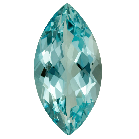 Loose Aquamarine Gemstone in Marquise Cut, 15.94 carats, 27.10 x 13.60 mm Displays Pure Blue-Green Color