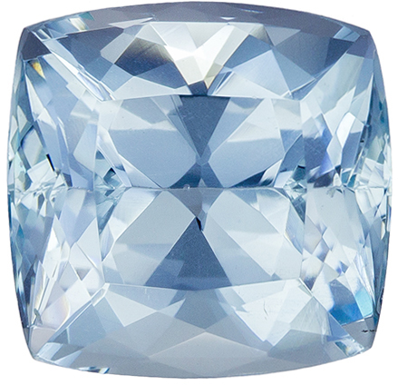 Loose Blue Aquamarine Gem in Cushion Cut, 10.8 x 10.6 mm, 5.74 carats