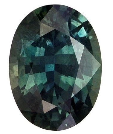 Loose Blue Green Sapphire Oval Shaped Gemstone, 0.95 carats, 6.8 x 5mm - Low Price