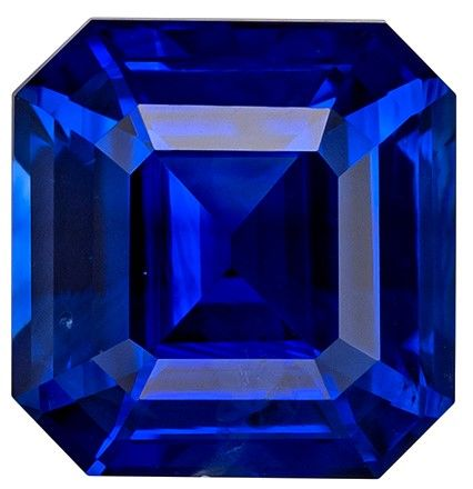 Loose Blue Sapphire Asscher Shaped Gemstone, 1.54 carats, 6.5 x 6.3mm - A Beauty of A Gem