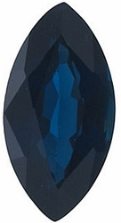 Loose Blue Sapphire Gem, Marquise Shape, Grade A, 4.00 x 2.00 mm in Size, 0.12 Carats