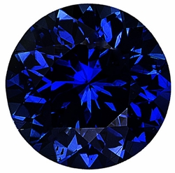 Loose Blue Sapphire Gem, Round Shape, Diamond Cut, Grade AA, 5.50 mm in Size, 0.8 Carats