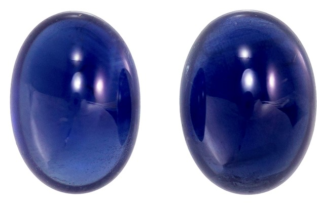 Loose Blue Sapphire Gemstones, Cabochon Cut, 2.21 carats, 6.75 x 5 mm Matching Pair, AfricaGems Certified - A Low Price