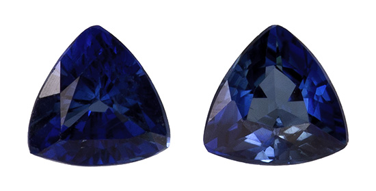 Loose Blue Sapphire Gemstones, Trillion Cut, 0.2 carats, 2.9 mm Matching Pair, AfricaGems Certified - A Great Buy