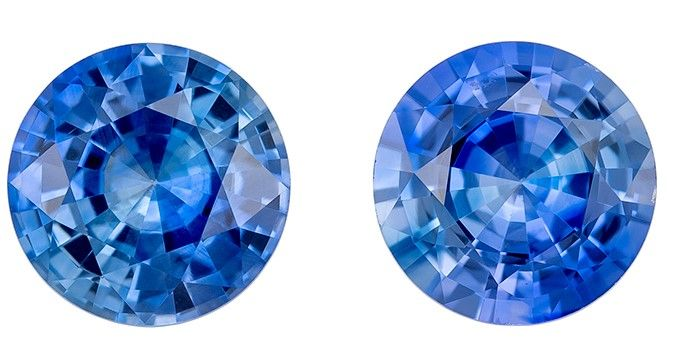 Loose Blue Sapphire Round Shaped Gemstones Matched Pair, 1.88 carats, 6mm - Low Price on
