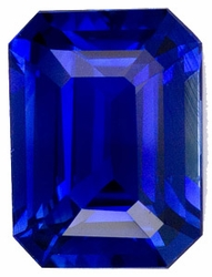 Loose Blue Sapphire Stone, Emerald Shape, Grade AAA, 5.00 x 4.00 mm in Size, 0.57 Carats