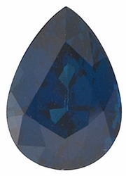 Loose Blue Sapphire Stone, Pear Shape, Grade A, 10.00 x 8.00 mm in Size, 3.15 Carats