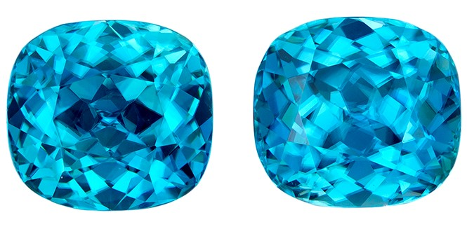 Loose Blue Zircon Gemstones, Cushion Cut, 8.14 carats, 8.1 x 7.6 mm Matching Pair, AfricaGems Certified - Great for Studs