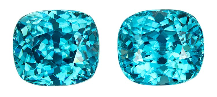 Loose Blue Zircon Gemstones, Cushion Cut, 8.6 carats, 8.6 x 7.6 mm Matching Pair, AfricaGems Certified - Great for Studs