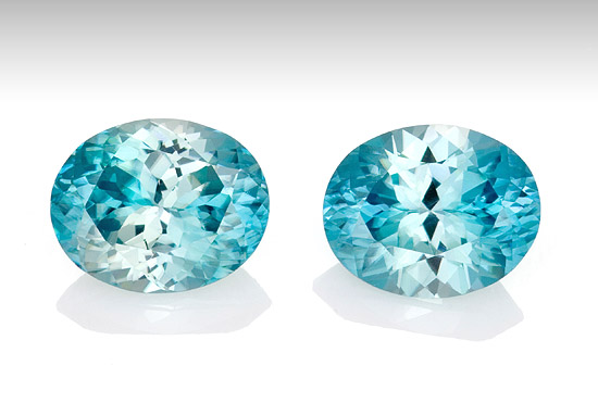 Loose Blue Zircon Gemstones, Oval Cut, 8.28 carats, 10 x 8 mm Matching Pair, AfricaGems Certified - Great for Studs