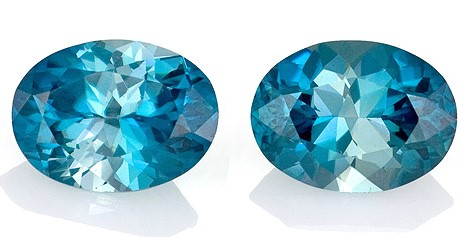 Loose Blue Zircon Gemstones, Oval Cut, 3.65 carats, 8 x 6 mm Matching Pair, AfricaGems Certified - Great for Studs