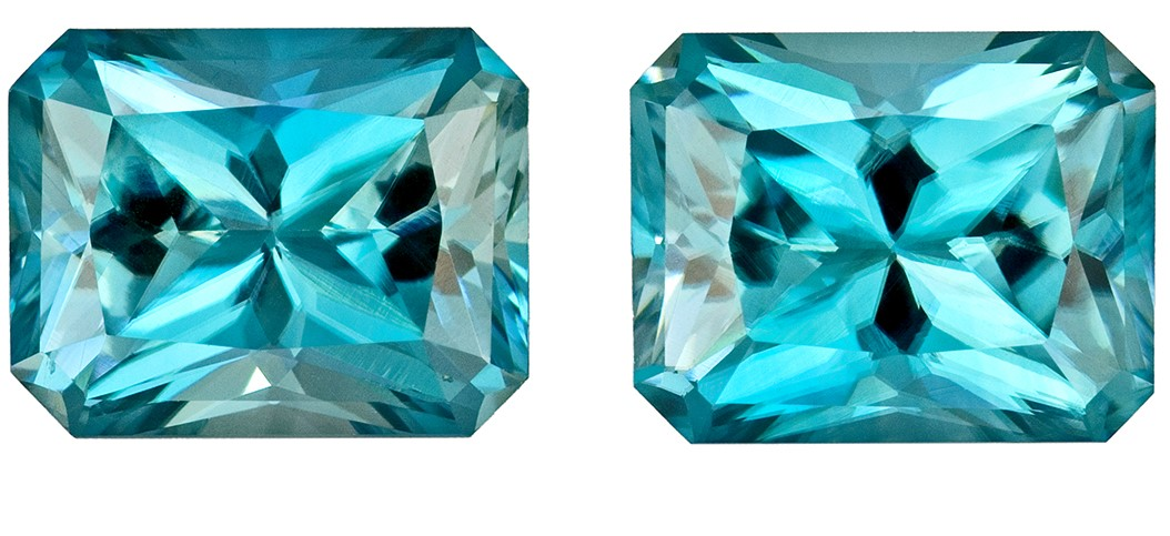 Loose Blue Zircon Gemstones, Radiant Cut, 7.43 carats, 9 x 7.1 mm Matching Pair, AfricaGems Certified - A Great Deal