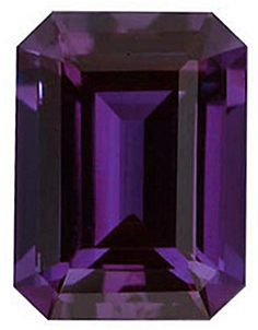 Loose Chatham Created Alexandrite Stone, Emerald Shape, Grade GEM, 7.00 x 5.00 mm in Size, 1.2 Carats