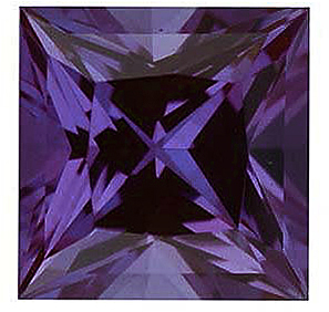 Loose Chatham Created Alexandrite Stone, Princess Shape, Grade GEM, 6.00 mm in Size, 1.35 Carats