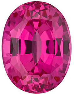 Loose Chatham Created Pink Sapphire Stone, Oval Shape, Grade GEM, 9.00 x 7.00 mm in Size, 2.6 Carats