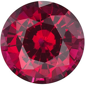 Loose Chatham Created Ruby Gemstone, Round Shape, Grade GEM, 5.00 mm in Size, 0.67 Carats