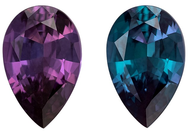 Loose Color Change Alexandrite Gemstone, 1.5 carats, Pear Cut, 9.75 x 6.27 x 3.71 mm, Must See This Gem - Gubelin Cert