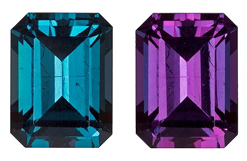 Loose Color Change Alexandrite Gemstone, Emerald Cut, 0.69 carats, 5.54 x 4.16 mm , AfricaGems Certified - A Fine Gem