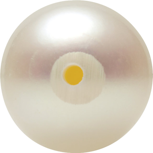 Top Quality Genuine Natural Seven Eighths Shape Half Drilled White Akoya Cultured Pearl Grade AA, 6.00 mm in Size