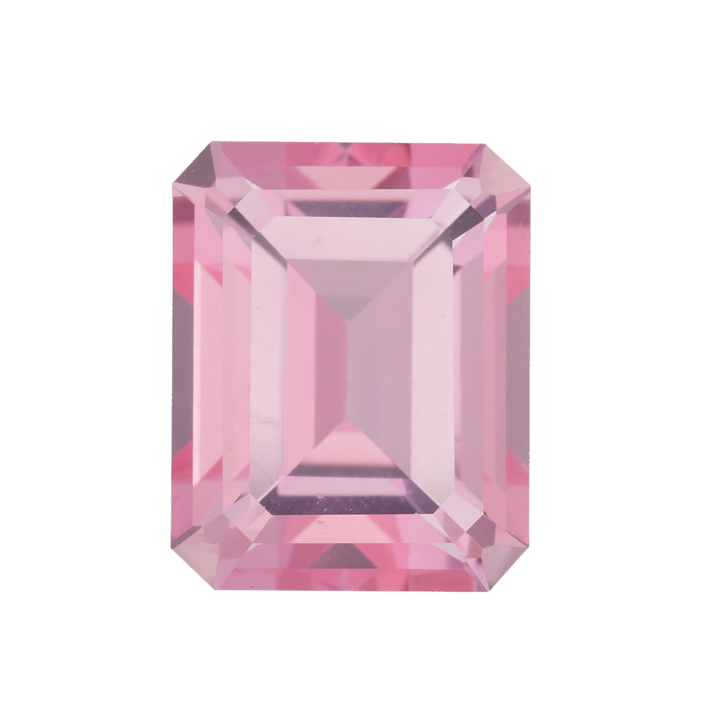 Loose Faceted Genuine Emerald Shape Baby Pink Passion Topaz Gemstone Grade AAA, 10.00 x 8.00 mm in Size