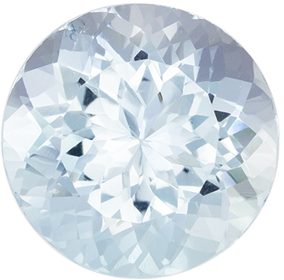 Loose Gemstone in Blue Aquamarine Round Cut, 5.76 carats, 12.2 mm