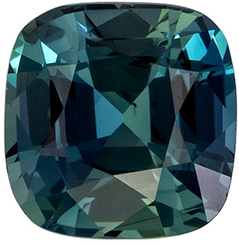 Loose Gemstone in Blue Green Sapphire Cushion Cut, 2.55 carats, 7.4 x 7.3 mm