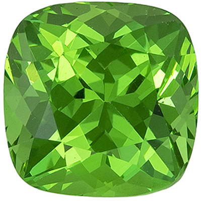 Loose Gemstone in Green Tsavorite Cushion Cut, 1.39 carats, 6.1 mm