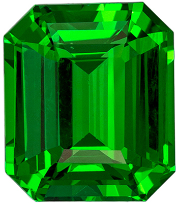 Loose Gemstone in Green Tsavorite Emerald Cut, 3.08 carats, 8.9 x 7.6 mm
