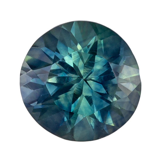 Loose Genuine Blue Green Sapphire Gemstone, 0.68 carats, Round Shape, 5 mm, Impressive Gem