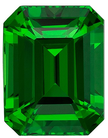 Loose Genuine Green Tsavorite Gemstone, 2.09 carats, Emerald Shape, 7.6 x 5.9 mm, Low Price