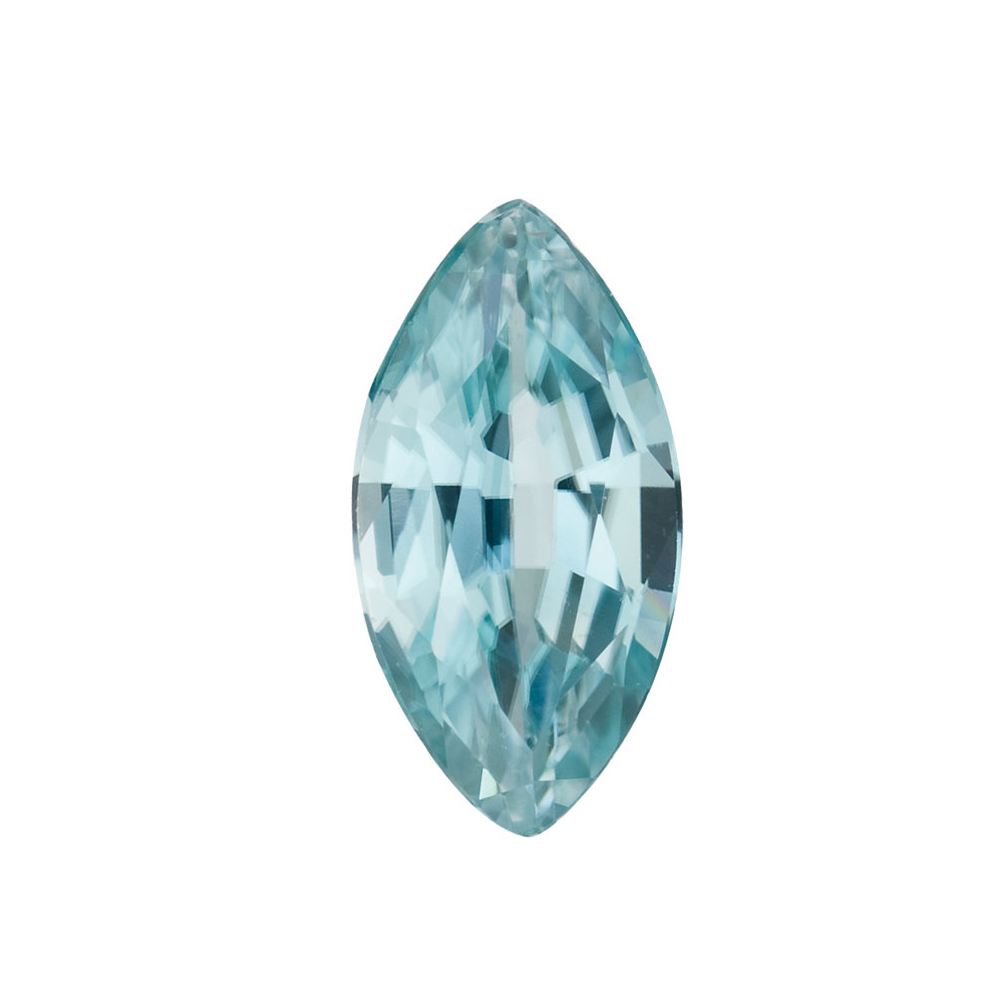 Loose Genuine Real Marquise Shape Blue Zircon Gemstone Grade AA, 5.00 x 2.50 mm in Size,  0.24 Carats