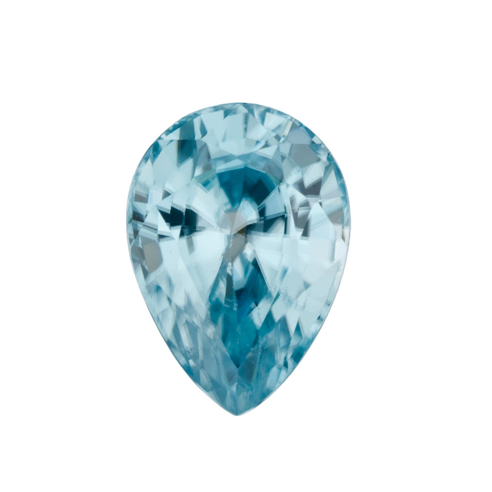 Loose Genuine Real Pear Shape Blue Zircon Gemstone Grade AA, 5.00 x 3.00 mm in Size,  0.32 Carats