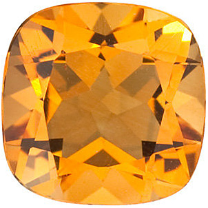Loose Golden Citrine Stone, Antique Square Shape, Grade A, 6.00 mm in Size, 0.85 carats