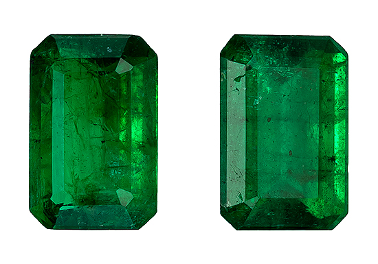 Loose Vibrant Emerald Gemstones, Emerald Cut, 1.03 carats, 6 x 4 mm Matching Pair, AfricaGems Certified - A Low Price