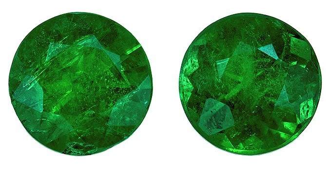 Loose Vibrant Emerald Gemstones, Round Cut, 0.55 carats, 4.2 mm Matching Pair, AfricaGems Certified - Great for Studs Pair