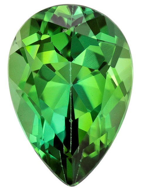Loose Green Tourmaline Gemstone, Pear Cut, 1.84 carats, 9.4 x 6.5 mm , AfricaGems Certified - A Hard to Find Gem