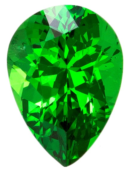 Loose Vivid Tsavorite Gemstone, Pear Cut, 0.78 carats, 6.7 x 4.8 mm , AfricaGems Certified - A Great Deal