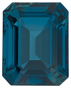 Loose London Blue Topaz Stone, Emerald Shape, Grade AAA, 12.00 x 10.00 mm in Size, 7.8 Carats
