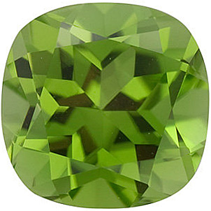 Loose Natural Genuine Antique Square Peridot Gem Grade AAA, 8.00 mm in Size, 2.4 Carats
