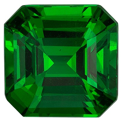 Loose Natural  Green Tsavorite Gemstone, 1.52 carats, Emerald Shape, 6.2 x 6.2 mm, Super Great Buy