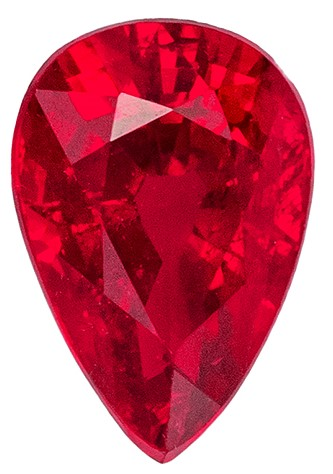 Loose Natural  Ruby Gemstone, 0.63 carats, Pear Shape, 6 x 4 mm, Truly Stunning