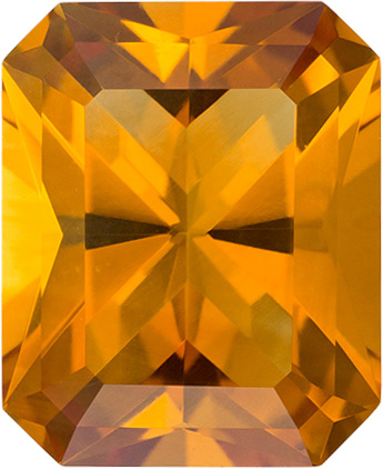Loose Orangey Gold Citrine Natural Gemstone in Radiant Cut, 11 x 9 mm, 3.6 Carats - SOLD