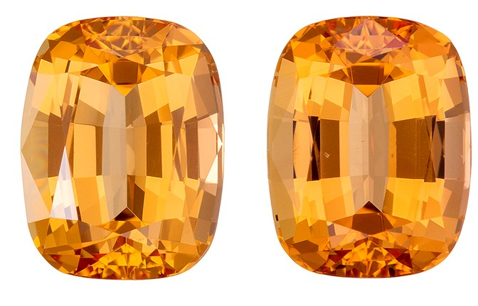 Loose Imperial Topaz Gemstones, Cushion Cut, 6 carats, 9 x 7 mm Matching Pair, AfricaGems Certified - A Deal
