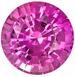 Loose Pink Sapphire Gem, Round Shape, Grade AA, 5.50mm in Size, 1 Carats