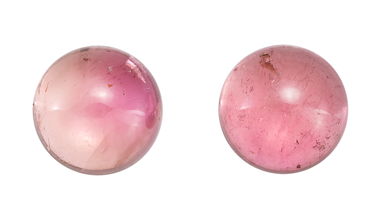 Loose Pink Tourmaline Gemstones, Cabochon Cut, 6.12 carats, 9 mm Matching Pair, AfricaGems Certified - A Low Price