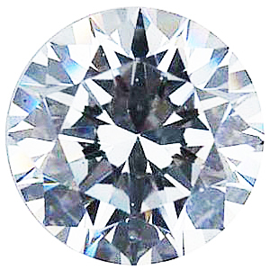 Loose Quality Faceted Colorless Cubic Zirconia Gem in Round Shape Sized 5.75 mm